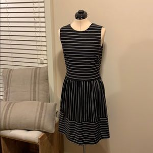 Aa Studio Black and Tan stripe stretch dress